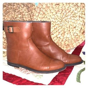 Flat Brown Buckled Ankle Boots